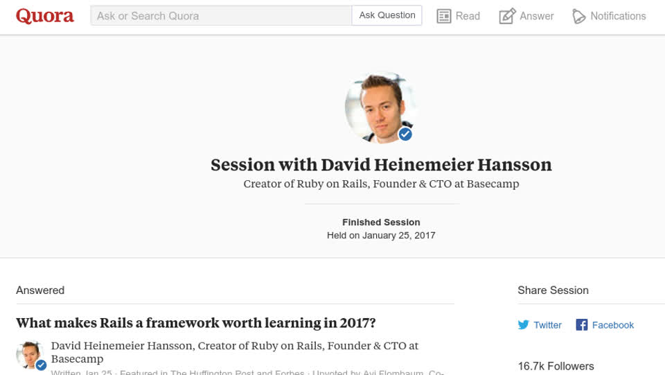 2017년 Rails, JavaScript에 대한 DHH의 생각